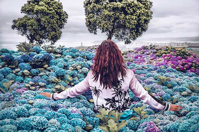 Lady in flowers image